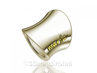 Personalized silver ring with gold name