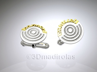 Cufflinks customized. Silver 925 and names Gold 18k.