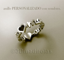 Silver personalized ring with names