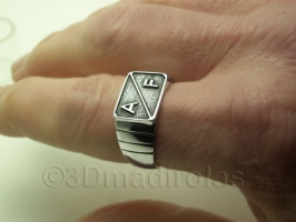 Personalized silver ring for him.