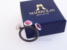 Sterling silver ring with 3 color stones.
