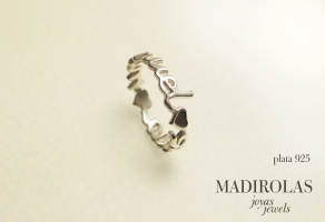 Silver personalized ring.