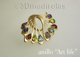 """ART LIFE"" gold ring."