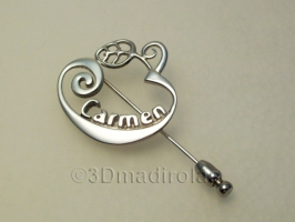 Personalized silver brooch pin. Capital letter with a name.